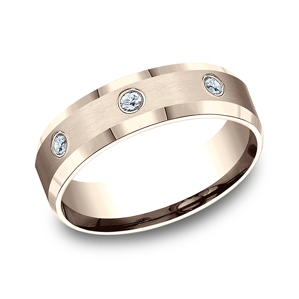 14K Rose Gold Comfort-Fit 0.18ctw Diamond Wedding Ring Band